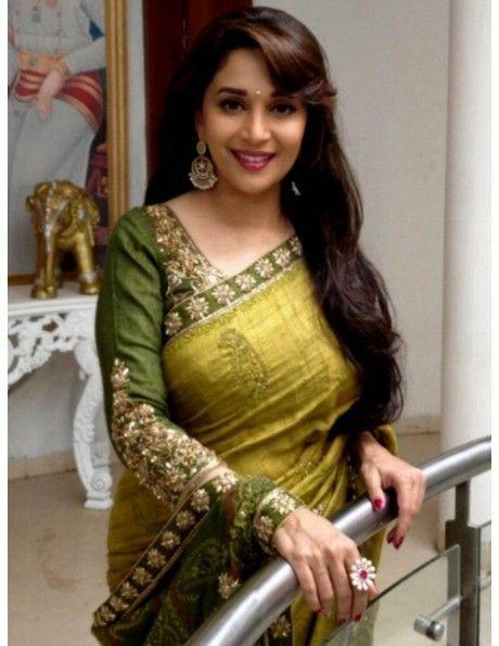 Madhuri Dixit In Olive Green Saree Item code : SMBW06