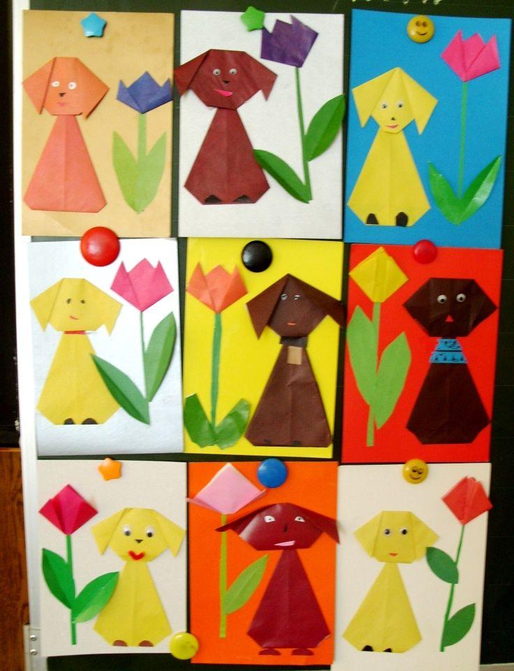 Собачка и цветов в технике «оригами»