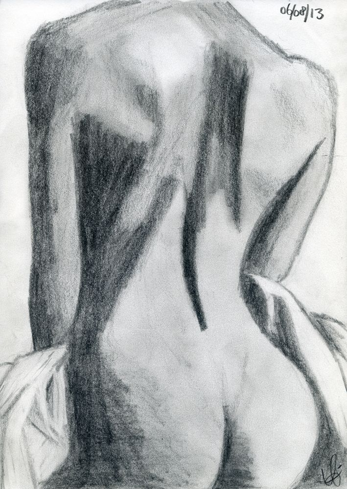Sketch / drawing, Female back, nude - practicing black & white gradients with pencil.