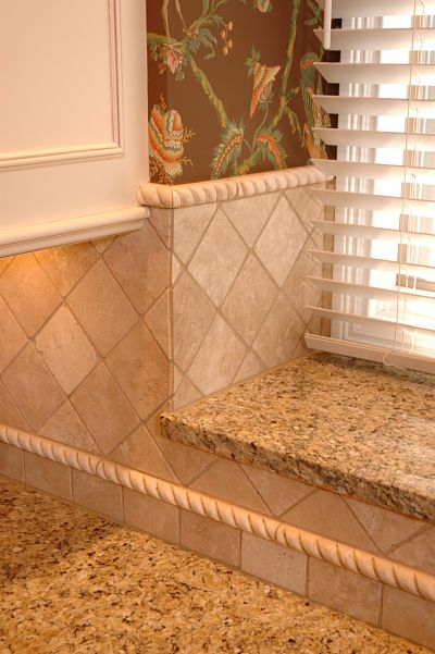 Kitchen Backsplash with Diamond Tile Pattern with Tile Liner