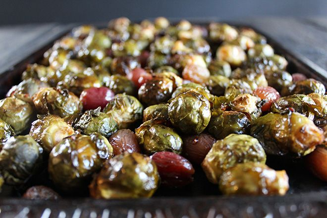 Balsamic Brussels Sprouts and Red Grapes | nutritionstripped.com
