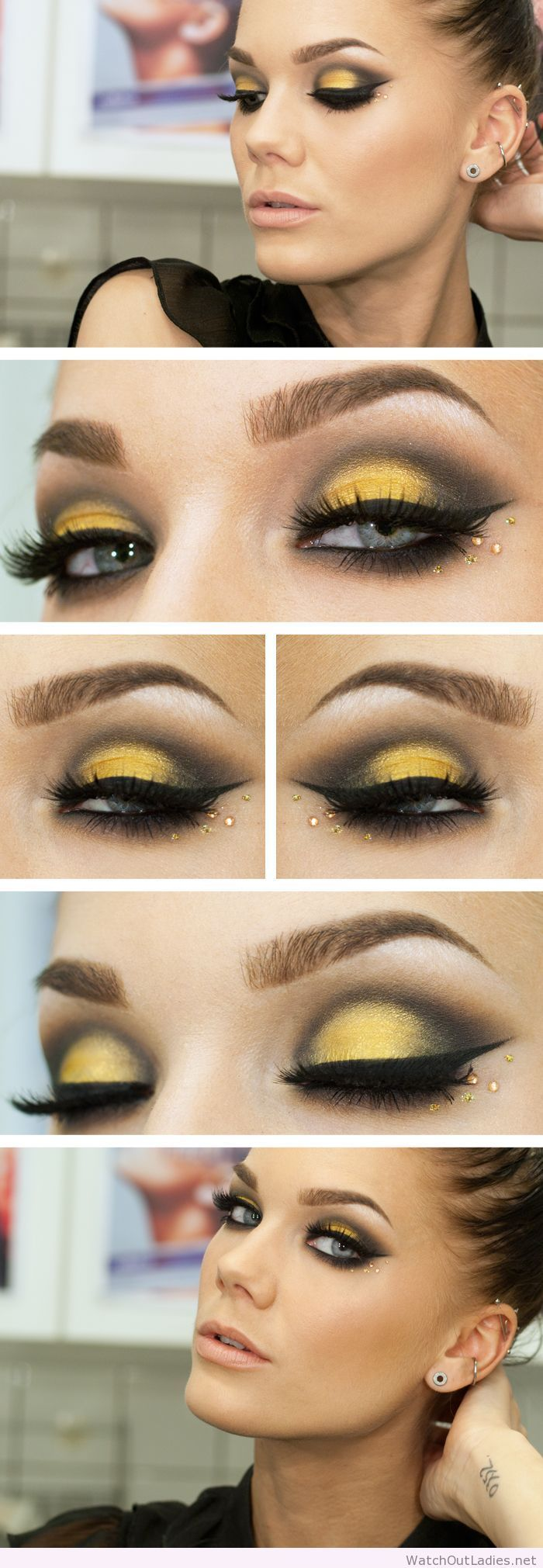 Linda Hallberg yellow and black eye makeup