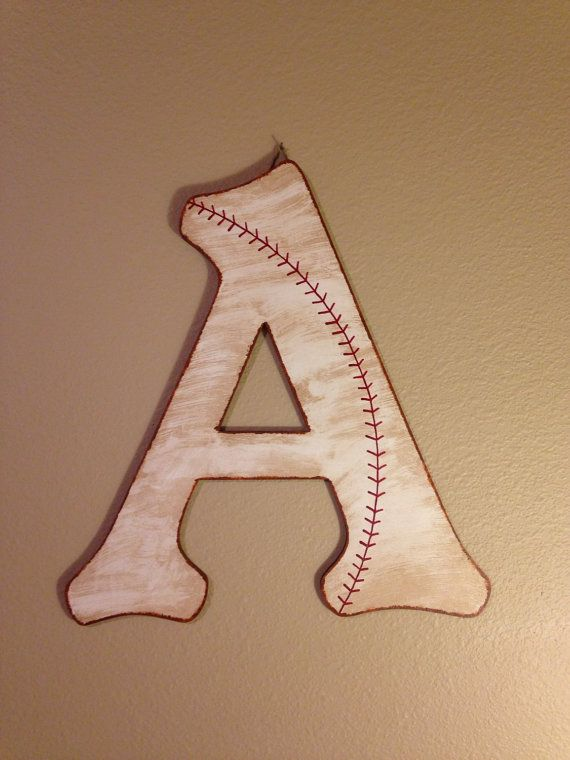 Rustic/Vintage Baseball Initial Door Hanger by AJsPrivyCreations