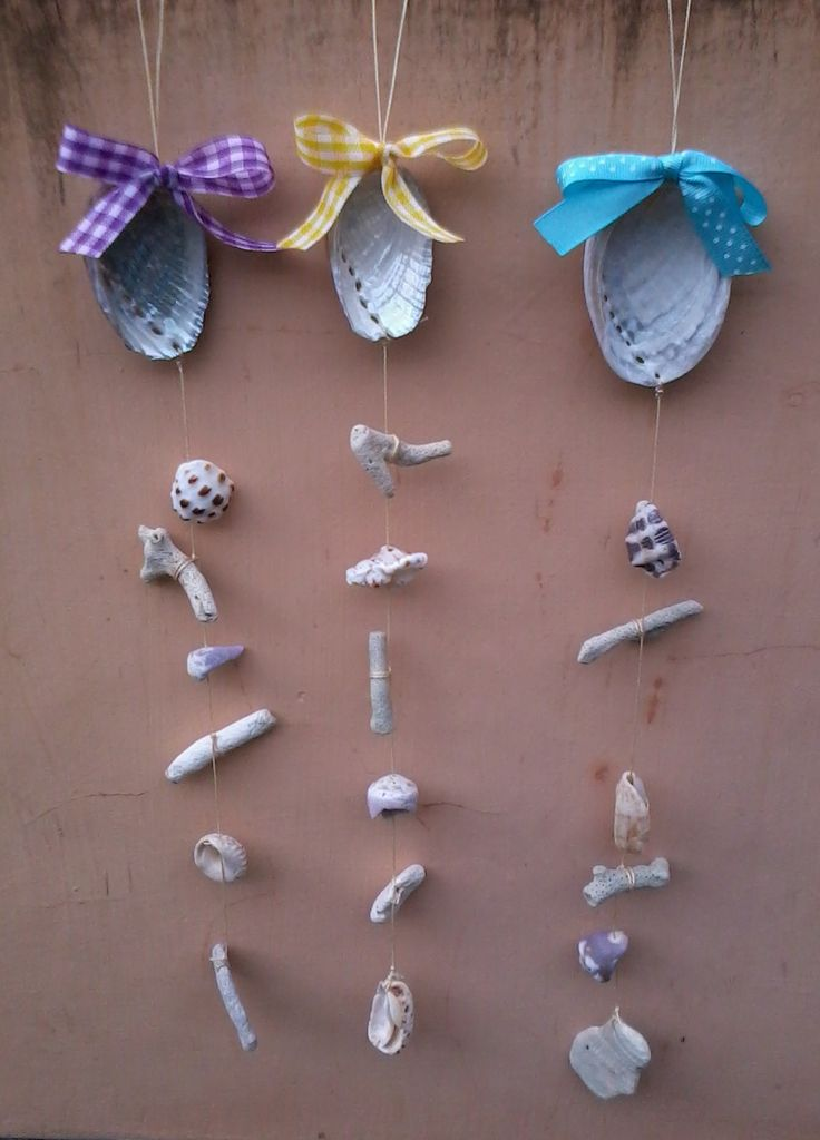 wall decor shell mobile yellow, purple and blue picture