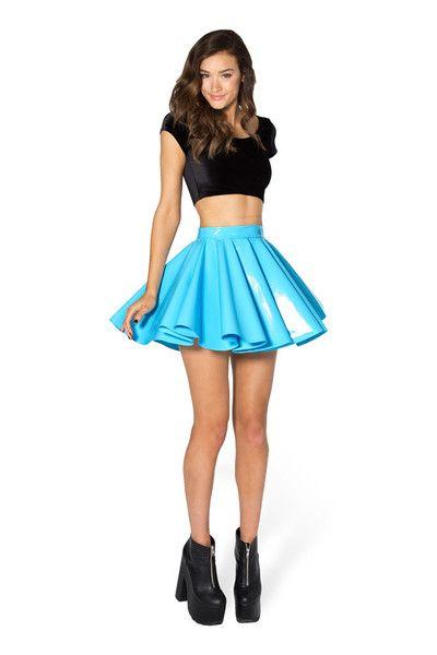 PVC Sky Blue Cheerleader Skirt - LIMITED › Black Milk Clothing