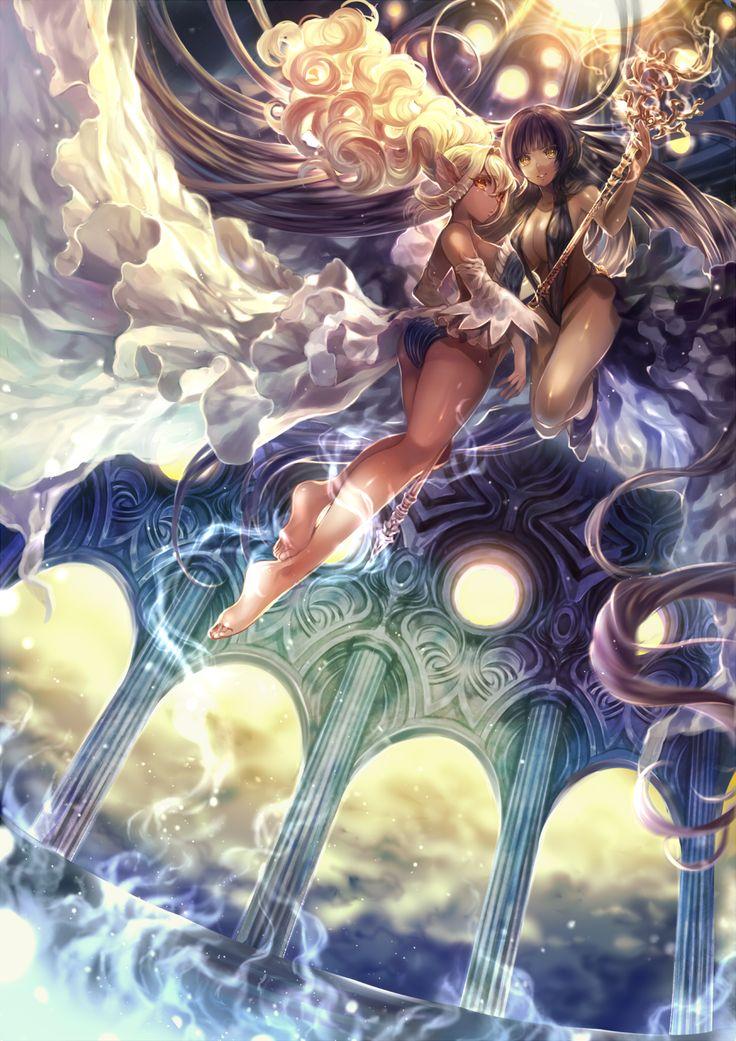 Аниме картинка 1012x1432 с  оригинальное изображение momoshiki tsubaki высокое изображение чёрные волосы лёгкая эротика светлые волосы красные глаза грудь девушки 2 девушки жёлтые глаза большая грудь босиком очень длинные волосы острые уши голые ноги платье нижнее бельё трусики посох