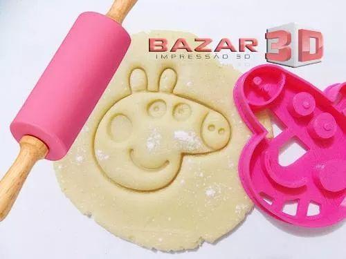 cortador de biscoito peppa pig rosto, cabeça - personagem