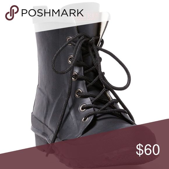 "Ralph Lauren MIKENNA RUBBER RAIN BOOT STYLE NUMBER:117369216  A lightweight outsole with well-defined treads adds grip and comfort to this waterproof boot, while a 1-inch heel gives it a touch of height.  1""/25 mm heel height. 6½""/165 mm shaft height. Rounded toe. Lace-up front. ""Lauren Ralph Lauren""–embossed tongue. Fully lined. Pull tab at the heel. Padded insole. Treaded rubber outsole. ""Lauren Ralph Lauren""–embossed rubber tag at the heel. Rubber. Imported. Ralph Lauren Shoes Winter…"