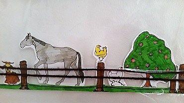 Easy kid's craft - Paper city farm fencing fine motor skills practice