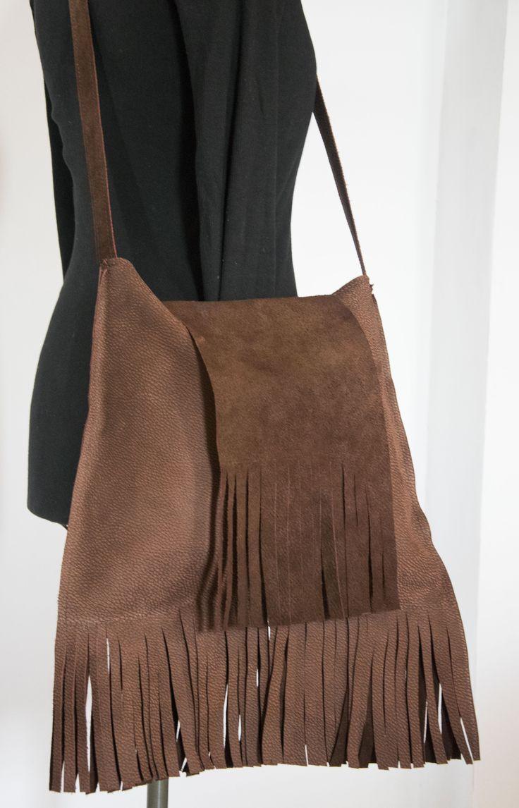 Skrawek Natury - fringe boho leather bag
