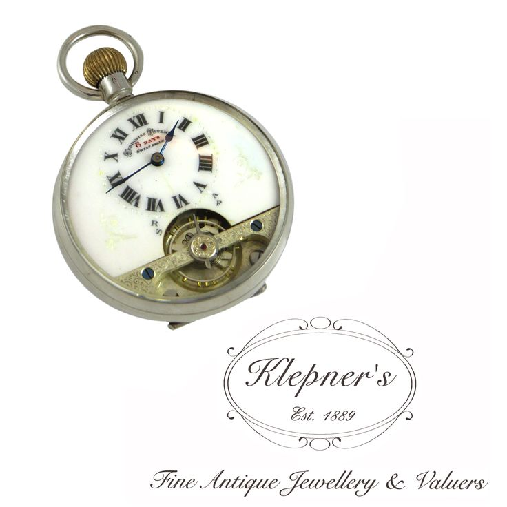 Sterling silver antique, engine turned , Swiss made,eight day, crown wound pocket watch. Made by Hebdomas Tatents.  Visit us at www.klepners.com.au