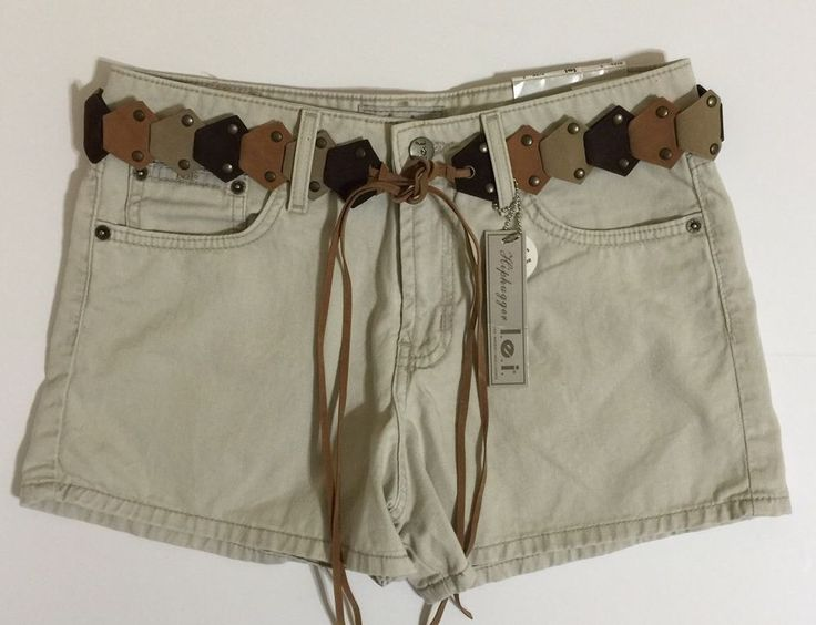 l.e.i. Women's Juniors Twill Hiphugger Beige Shorts W/Belt Size 5 NWT #lei #CasualShorts