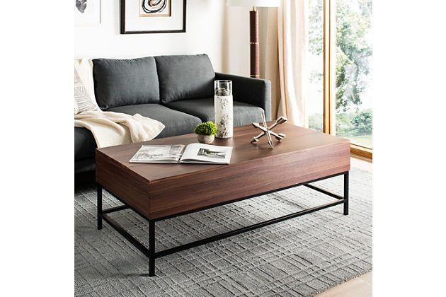 Dark Oak Finish Contemporary Lift Top Coffee Table Ashley
