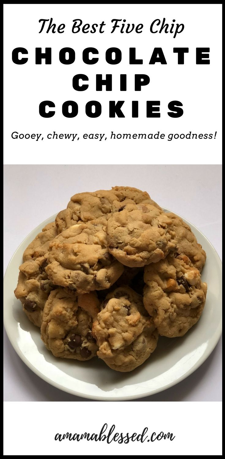 Are you searching for the best chocolate chip cookie recipe? These five chip chocolate chip cookies are loaded with five different types of chips including white chocolate, peanut butter, milk chocolate, semi-sweet chocolate and butterscotch chips! This easy recipe will win over crowds with the gooey, chewy, oatmeal, perfect homemade chocolate goodness!