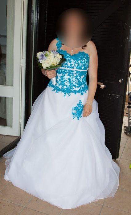 Robe de mariée turquoise d'occasion - Essonne