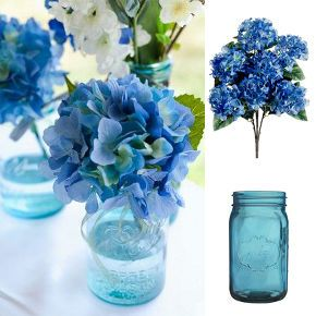 diy blue hydrangea wedding, container gardening, crafts, flowers, gardening, home decor, hydrangea, mason jars