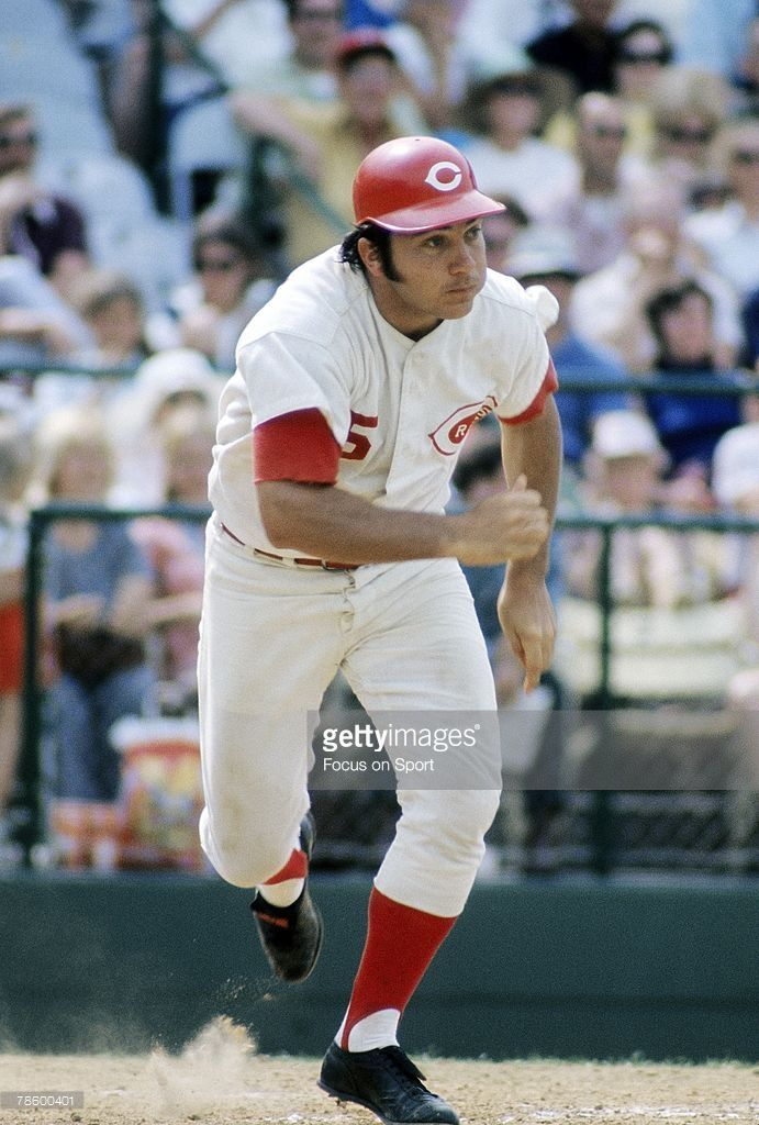Catcher Johnny Bench #5 of the Cincinnati Reds races down the first baseline as he watches the flight of his ball during a MLB baseball game circa late 1960s at Cosley Field in Cincinnati, Ohio. Bench played for the Reds from 1967-83.