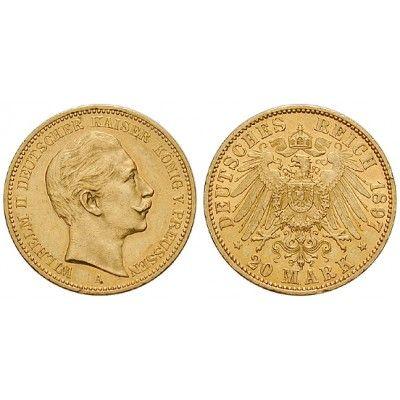 Deutsches Kaiserreich, Preussen, Wilhelm II., 20 Mark 1897, A, ss-vz/vz, J. 252: Wilhelm II. 1888-1918. 20 Mark 1897 A. J. 252;… #coins
