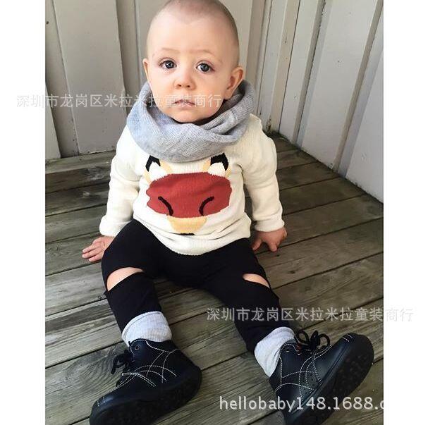 2015 kikikids baby jongens meisjes gebreide gehaakte trui tops vos dier kinderen de herfst lange mouw trui pullover peuter kleding(China (Mainland))