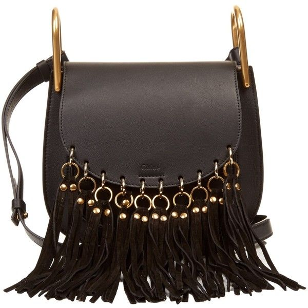 Chloé Hudson suede tassel leather cross-body bag (€1.570) ❤ liked on Polyvore featuring bags, handbags, shoulder bags, carteras, bolsas, borse, black, handbags crossbody, crossbody shoulder bags and purse crossbody