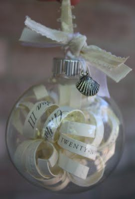 Take their wedding invitation, cut into strips and placed in a glass ball. Give to newlywed couple for their first Christmas. Would work for baby showers and other things too. Very cute idea.