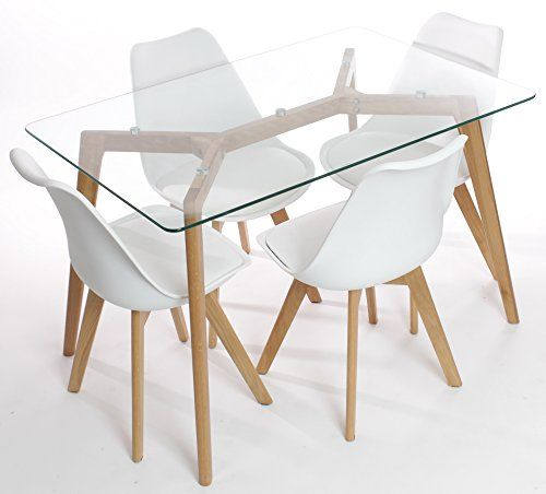 awesome Charles Jacobs Dining Table with Four White Chairs