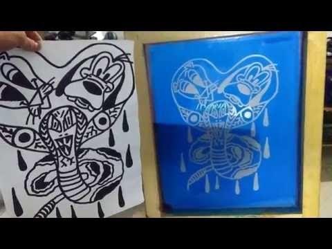 Serigrafía Artesanal, Copiado de Pantalla, Revelado de emulsión foto_sensible - YouTube