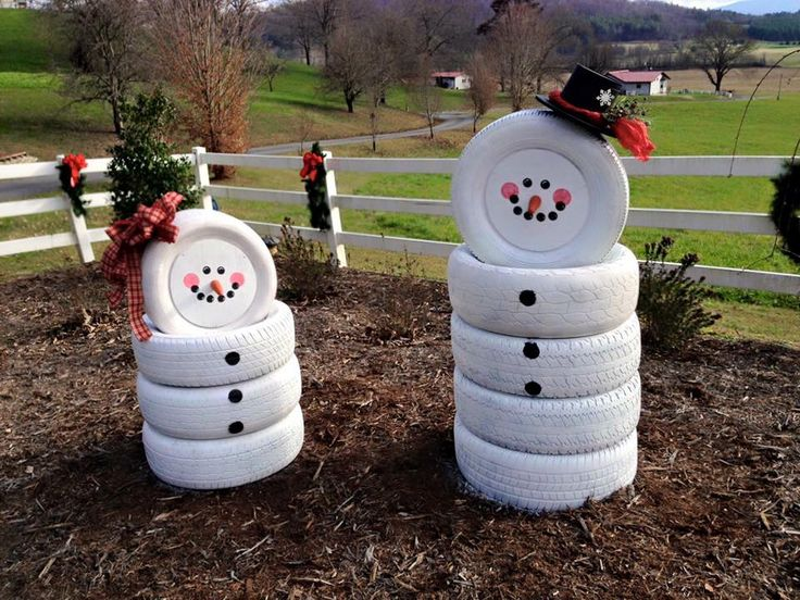 snowman made with painted tires
