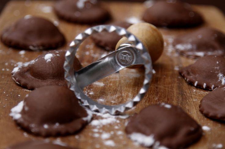 Chocolade Ravioli, gevuld met mascarpone en vanille