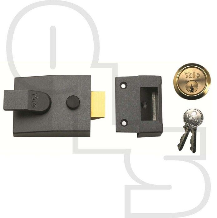 YALE 88 STANDARD NON-DEADLOCKING NIGHTLATCH - 60mm BACKSET - Yale 88 Standard Non-Deadlocking Nightlatch with 60mm Backset  Non-deadlocking Yale night latches widely used on hotel doors. Supplied with 5-pin cylinder and 2 keys or as Case Only (without the cylinder).  Available Finishes (Case/Cylinder) - Grey/No Cylinder, Grey/Brass, Grey/Satin Chrome, Brass/Brass & Chrome/Chrome