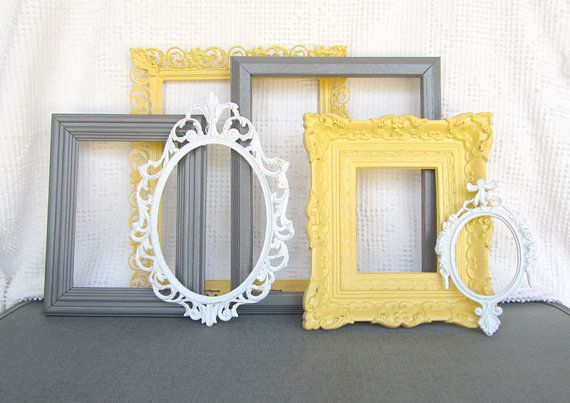 Yellow, Grey White Ornate Picture Frames with GLASS set of 6 - Upcycled Frames Modern  Bedroom Decor Wedding Gift