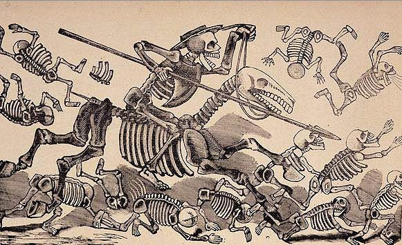 'Don Quixote (1905), an engraving by Jose Guadalupe Posada, best known for illustrating his famous Calaveras for several publications at the turn of the 20th century. These satirise society under the government of Porfirio Díaz, just before the revolution. Since he died, his images have become associated with the Day of the Dead' Photograph: PR
