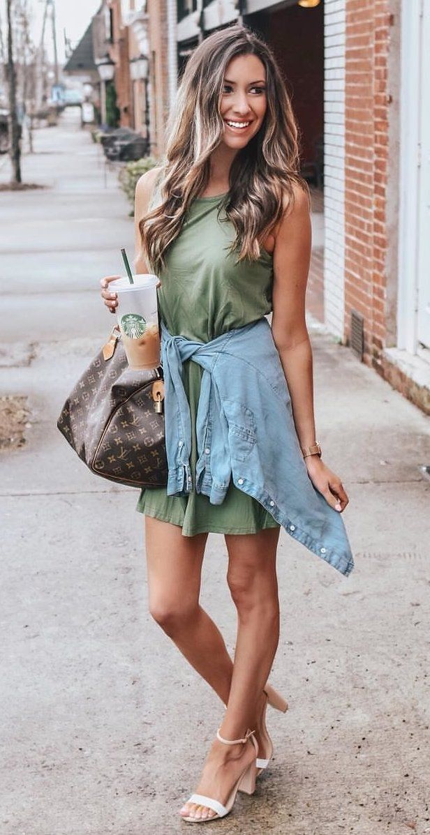 green sleeveless dress #spring #outfits
