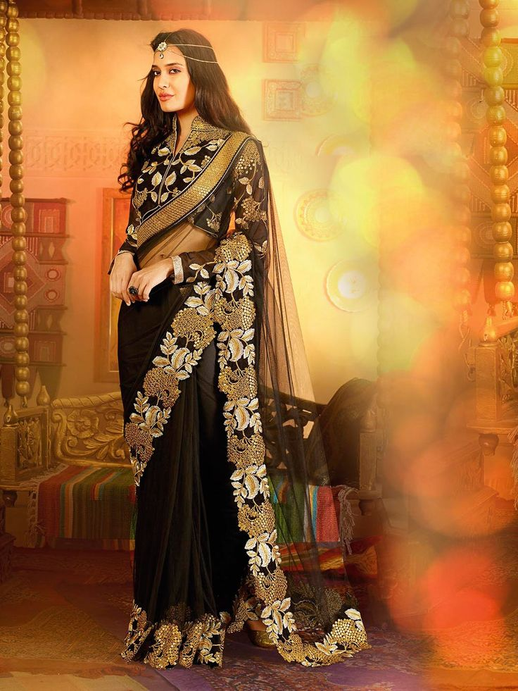 Designer Black Wedding Saree . Shop at - http://www.gravity-fashion.com/designer-black-wedding-saree-ae0017.html