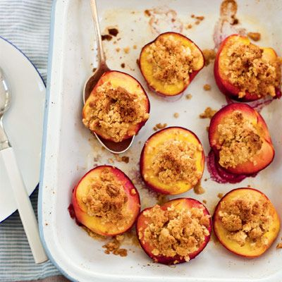 These roast nectarines with amaretti crumble are simple but delicious. Serve with vanilla ice cream for an added indulgence.