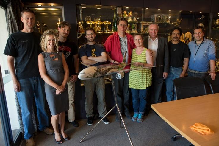 Weta Workshop team receiving an #airnzhobbit model plane