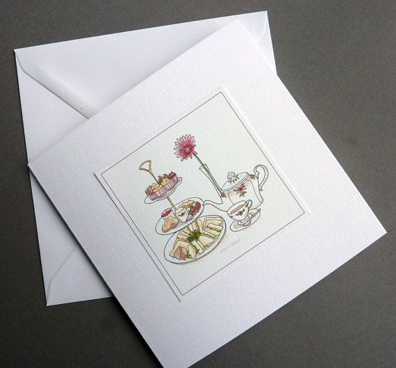 English Afternoon Tea - watercolour art greetings cards/notelets - 2 pack - tea, sandwiches and cakes