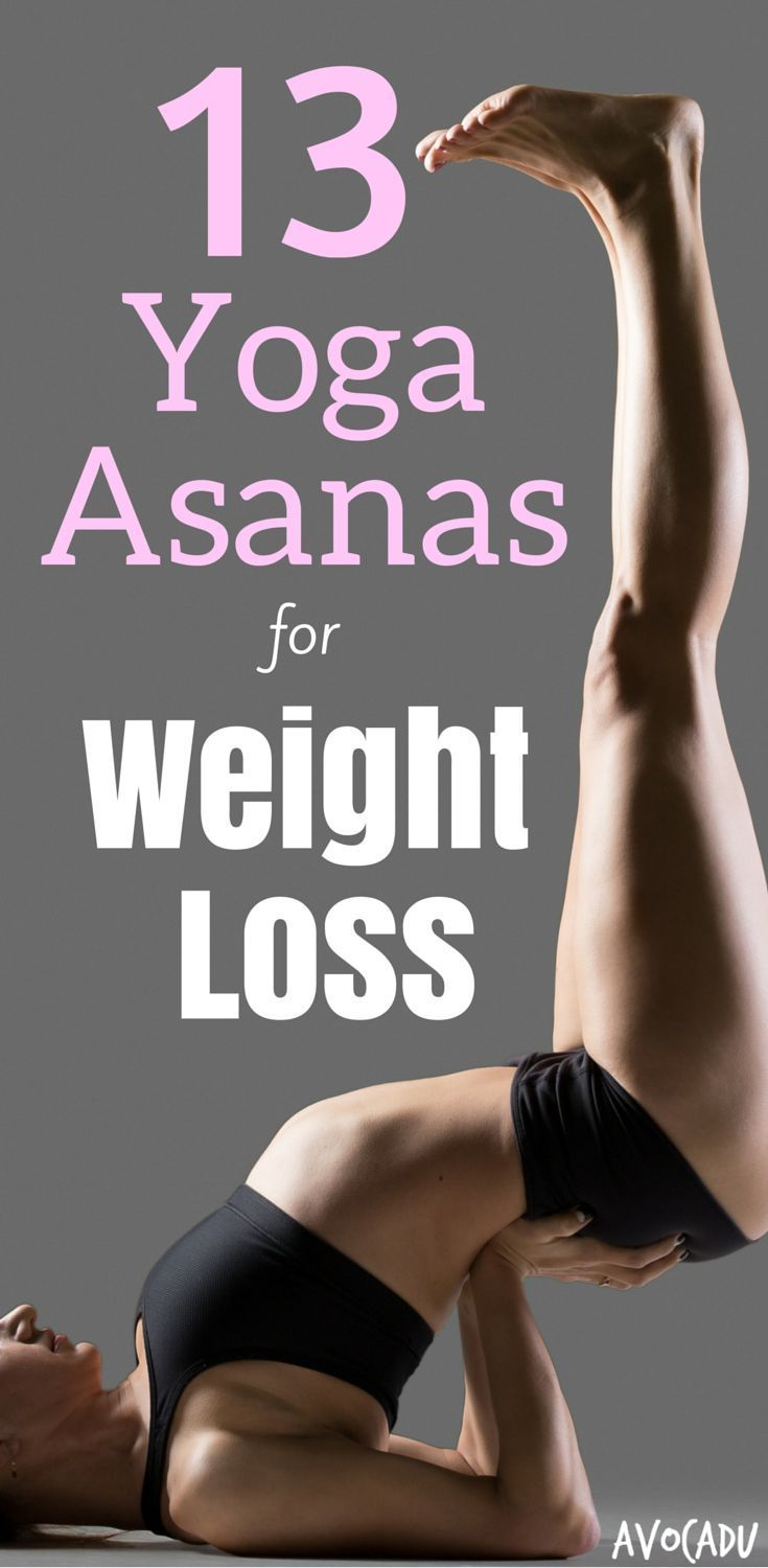 Yoga relieves stress, which lowers cortisol and leads to healthy weight loss! Lose weight naturally with these 13 yoga poses! #weightloss #yoga