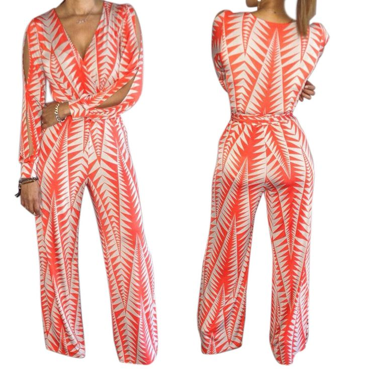 Women Deep V Neck Wide Leg Jumpsuit Sexy Striped Print Long Sleeve Cold Shoulder Rompers Elegant Plus Size Playsuit