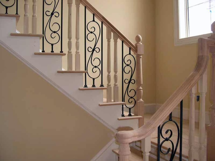 Wrought Iron and Wood Staircase: Ideas Wrought, Inexpensive Ideas, Inexpen Ideas, Irons Balusters, Houses Ideas, Wrought Iron, Iron Balusters, Wood Staircases
