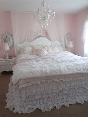 Not So Shabby - Shabby Chic - Love the mirrors, lamps, and nightstands