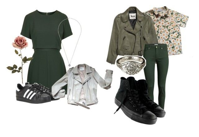 """Green💚"" by freedom2095 ❤ liked on Polyvore featuring Topshop, adidas, Maje, Cacharel, Acne Studios, H&M, Talon, Converse and Rosa Maria"