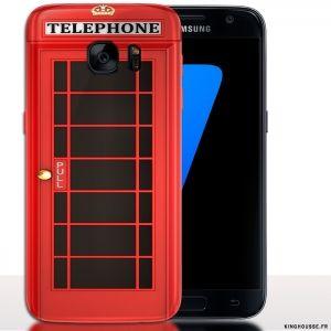 Coque téléphone pas cher Samsung S7 cabine téléphonique anglaise   Housse S7. #Coque #S7 #Samsung #Phone #Anglais #English #cab