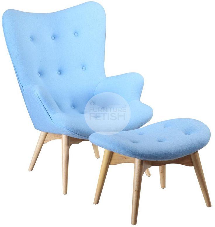 Replica Grant Featherston Chair & Ottoman - R160 Contour Chair Blue