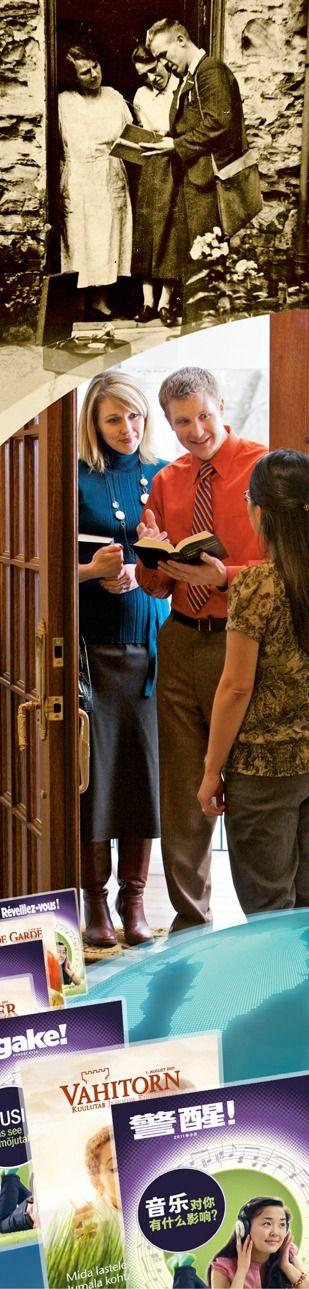Testigos de Jehová predicando a principios del siglo XX y hoy; publicaciones para estudiar la Biblia en muchos idiomas.