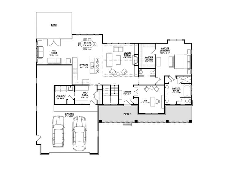 Eplans ranch house plan open plan ranch with finished for 3 bedroom house plans with basement