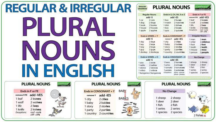 Plural Nouns in English - Regular & Irregular Plurals #ESL #ELL #Spelling