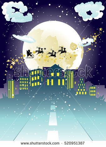 Christmas background with Santa Claus silhouette flying to the city.