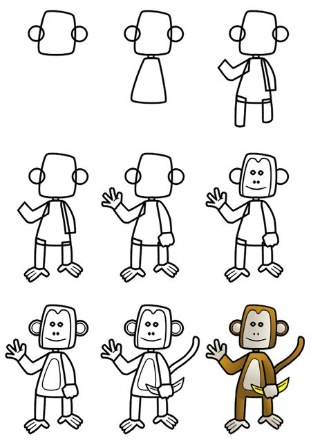 Cute cartoon monkey made from simple basic shapes, this drawing tutorial is a little bit tougher than the ones found on the main site.