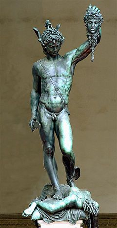 Benvenuto Cellini's 1545 bronze sculpture of Perseus with the head of Medusa on a square base with bronze relief panels is located in the Loggia dei Lanzi of the Piazza della Signoria in Florence, Italy. Also, below the main sculptural event a small relief of the story of Perseus and Andromeda resides, similar to a predella on an altarpiece. The second Florentine duke, Duke Cosimo I de' Medici, commissioned the work.